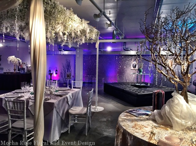 Mocha Rose Floral and Event Design, Showroom, Feather ceiling, crystal tree, consultation