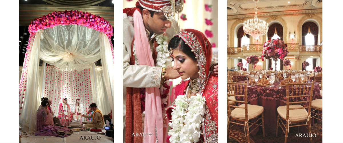 South Asian Wedding, Indian Wedding, Pink wedding, Purple wedding, Mandap, Omni William Penn Hotel, Grand Ballroom, Araujo Photography, Divine Celebrations