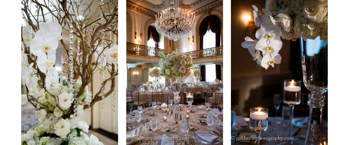 Omni William Penn Hotel, Grand Ballroom, White wedding, gold wedding, orchids, Mocha Rose, Goldstein Photography, statement piece, crystal tree