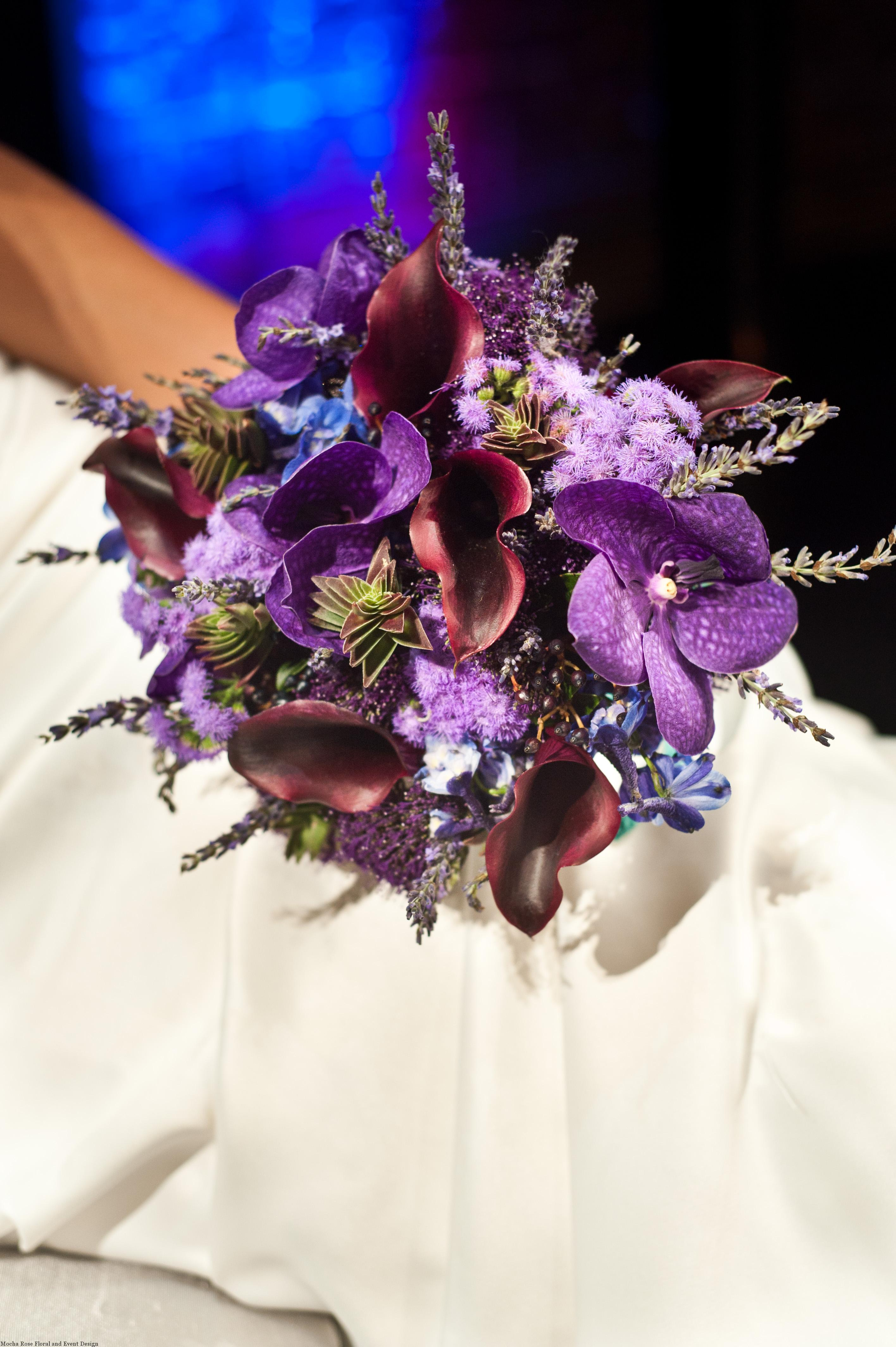 New Hazlett Theater, Bridal bouquet, purple wedding, Studio Bash