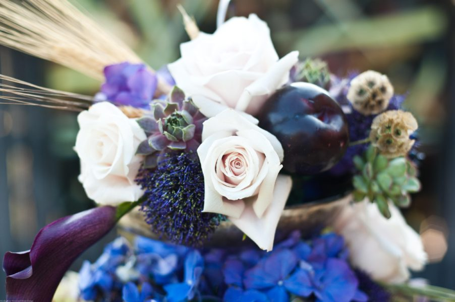 centerpiece, shabby chic, wedding, eggplant, wheat, purple, Craig Photography