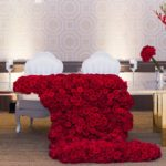Fairmont Hotel Pittsburgh wedding reception head table lavish hollywood red carpet rose cascade