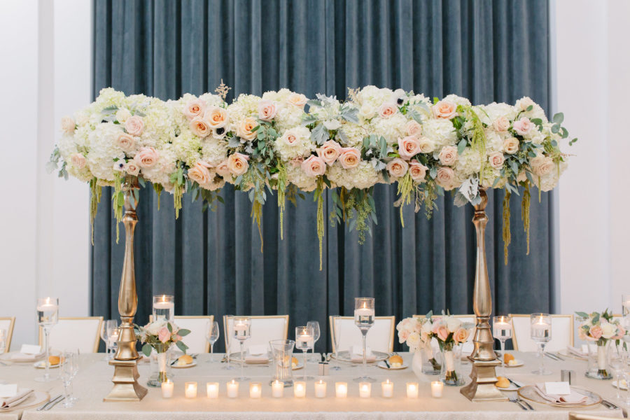 soft dreamy romantic suspended statement centerpiece head table wedding reception Hotel Monaco ballroom