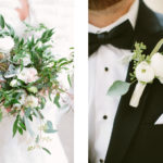 greenery bridal bouquet blush white flowers accents ranunculus seeded eucalyptus boutonniere groom bridal party flowers details