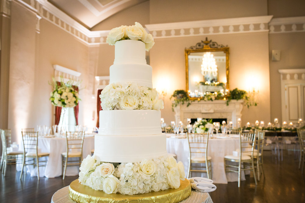 Fox Chapel Golf Club wedding reception Frosted Envy cake custom white flower cake layers