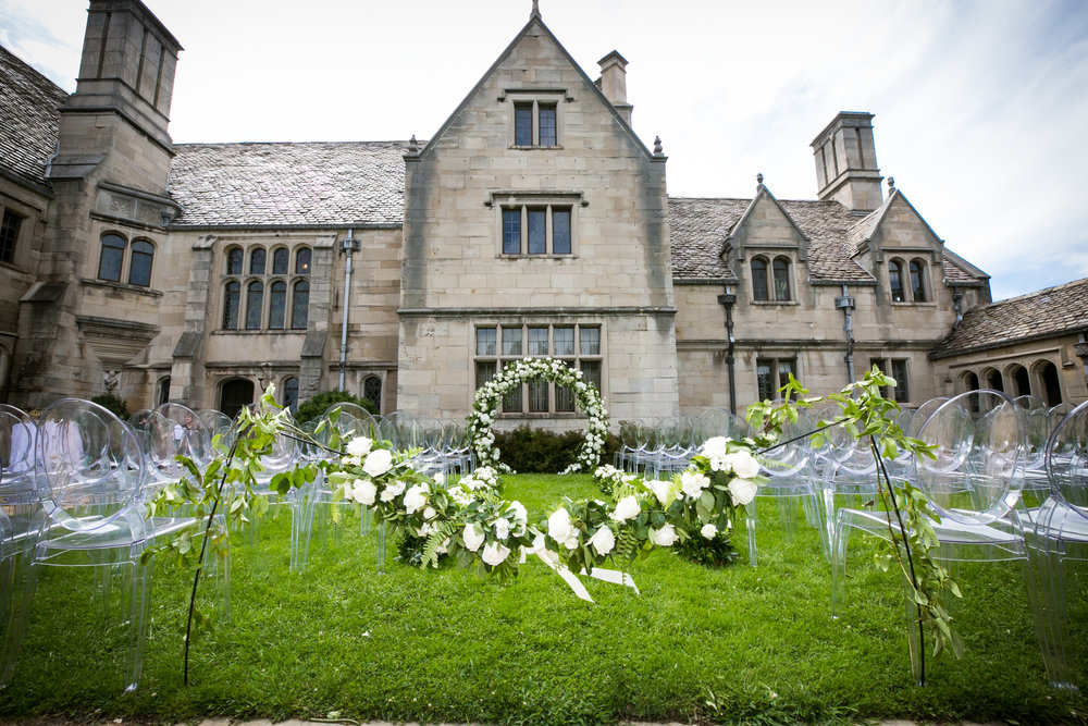Hartwood Acres Mansion outdoor ceremony Mocha Rose aisle wedding flowers ceremony backdrop