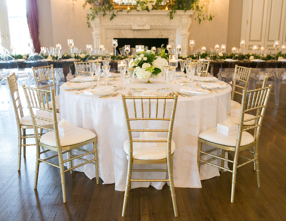 low reception centerpiece white flowers greenery guest table Fox Chapel Golf Club wedding