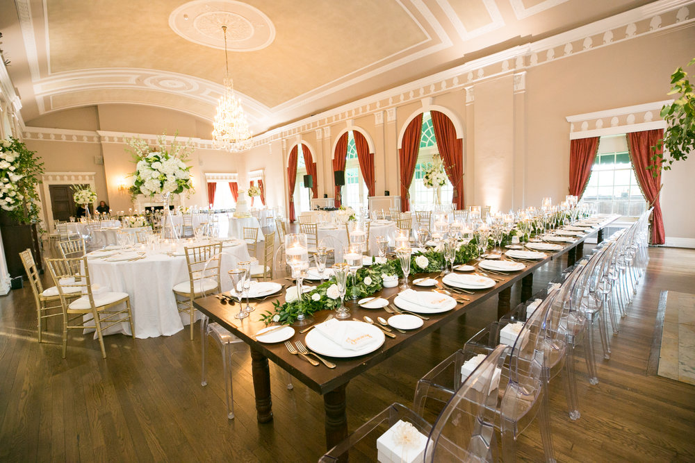 white flowers greenery wedding reception ballroom Fox Chapel Golf Club