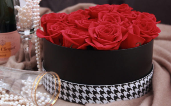 romantic classic red rose arrangement custom design Little Black Box Mocha Rose