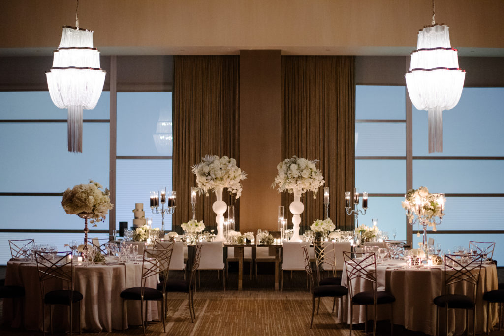 modern luxurious ballroom wedding reception Fairmont Hotel Pittsburgh black white silver Michael Will Photography