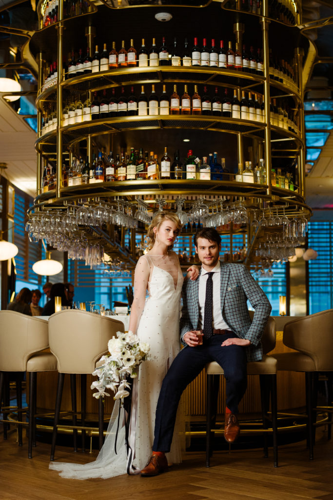 modern bride groom Floor 2 Fairmont bar styled photoshoot