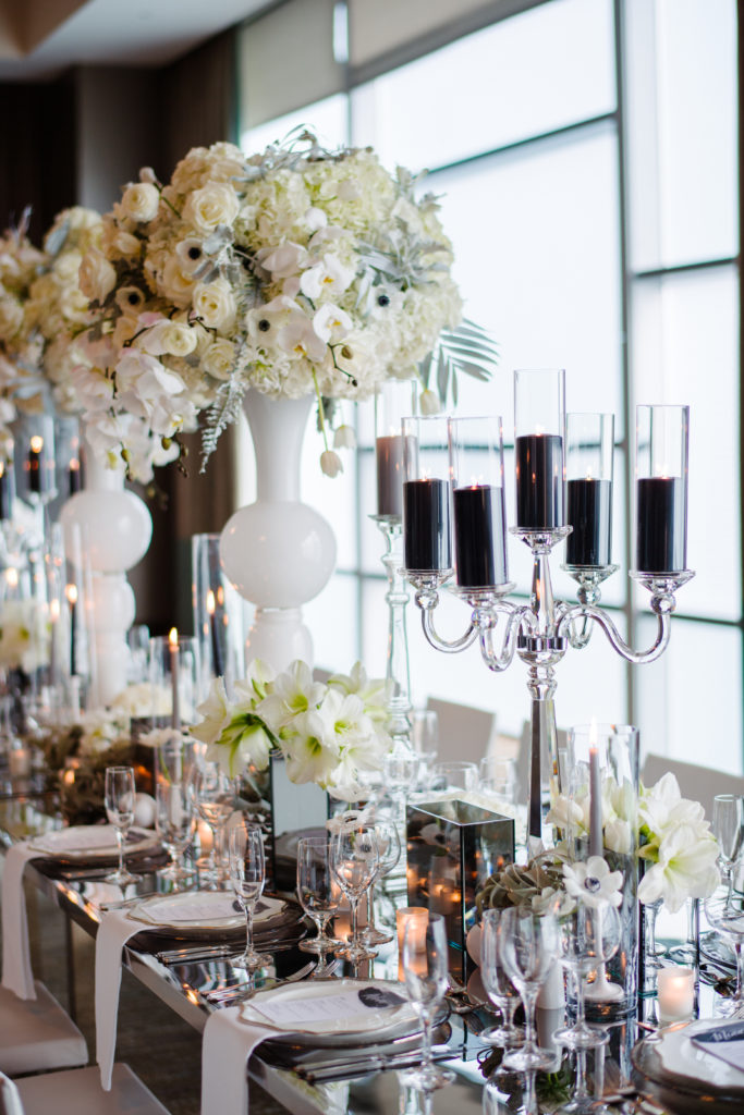 modern grayscale kings table wedding reception custom design statement centerpieces candelabras white flowers black candles Fairmont Pittsburgh