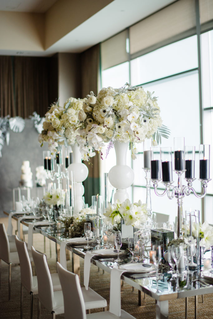 statement design head table modern luxury wedding reception Fairmont Hotel Pittsburgh