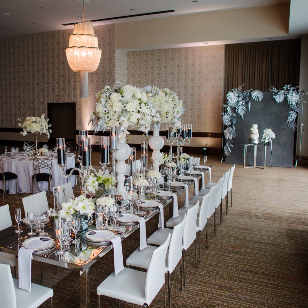 modern luxury wedding reception Fairmont Hotel Pittsburgh statement design grayscale black white Michael Will Photography