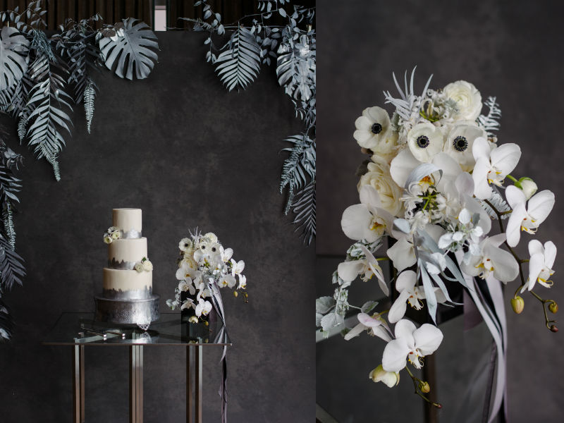 Fairmont modern wedding styled photoshoot white black gray silver cake bridal bouquet details
