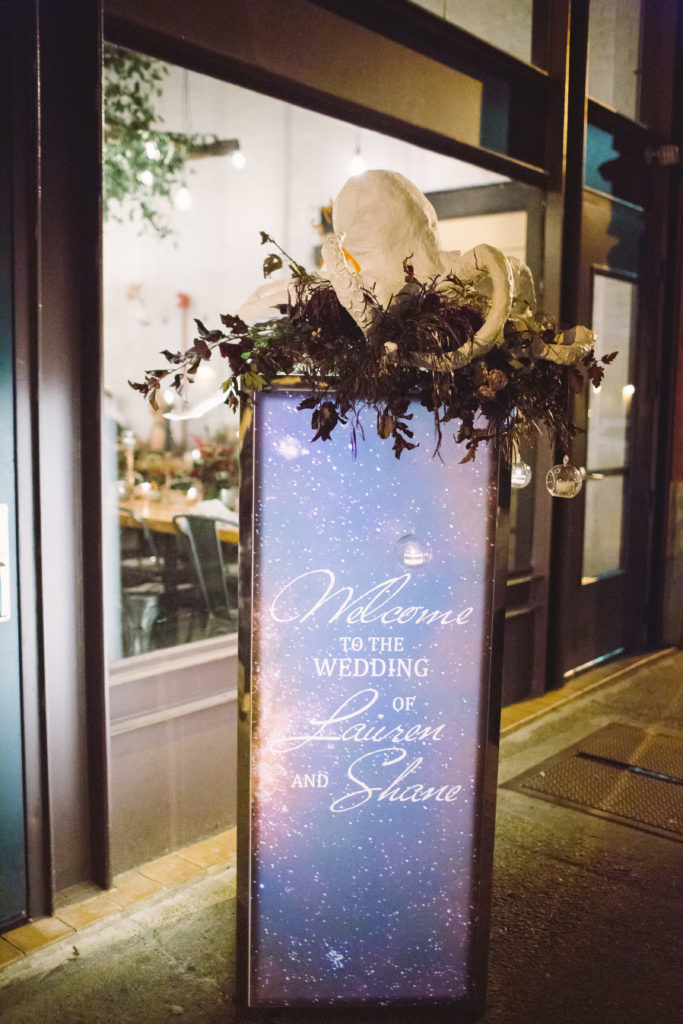 custom welcome sign Marbella tower entrance decor fall wedding pittsburgh
