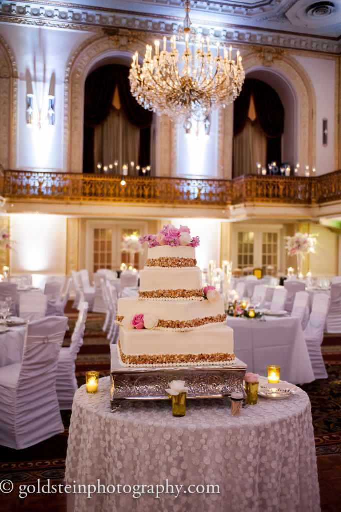 prantls burnt almond torte wedding cake pink white flowers
