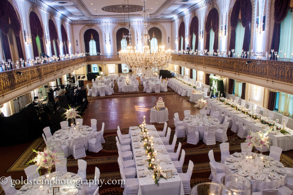 omni william penn grand ballroom october wedding white pink flowers