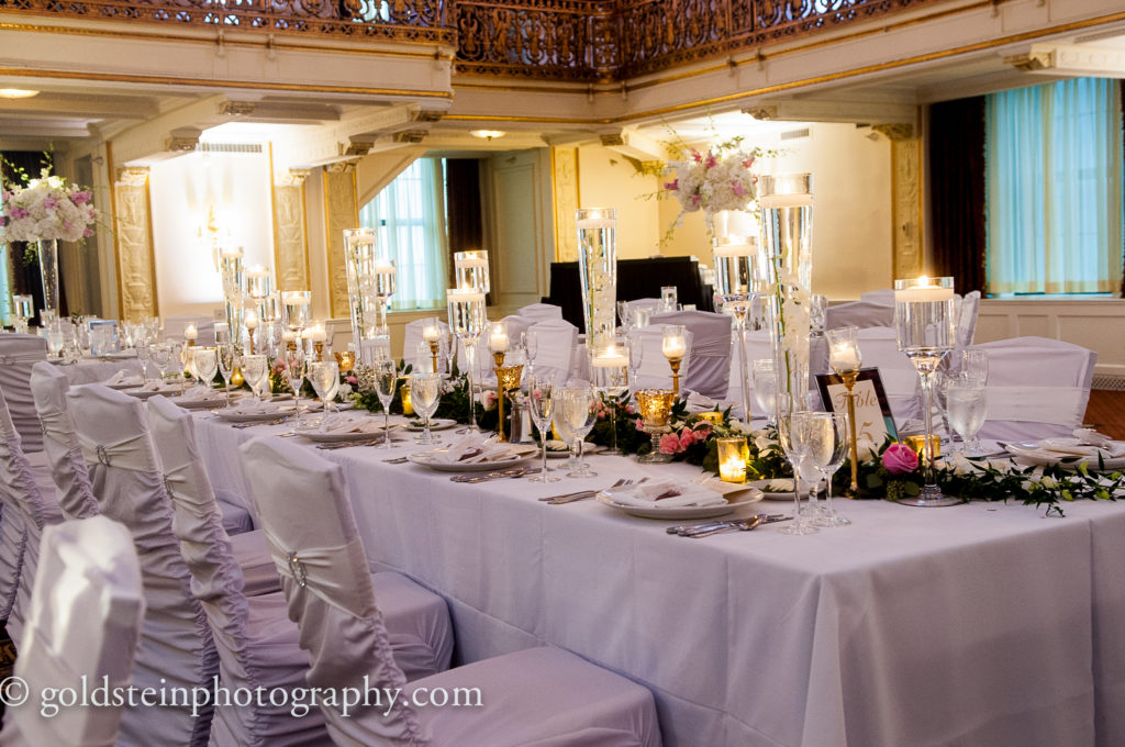 table garland tall floating candles wedding centerpiece omni william penn grand ballroom