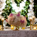 sweetheart table centerpiece white pink flowers wedding reception
