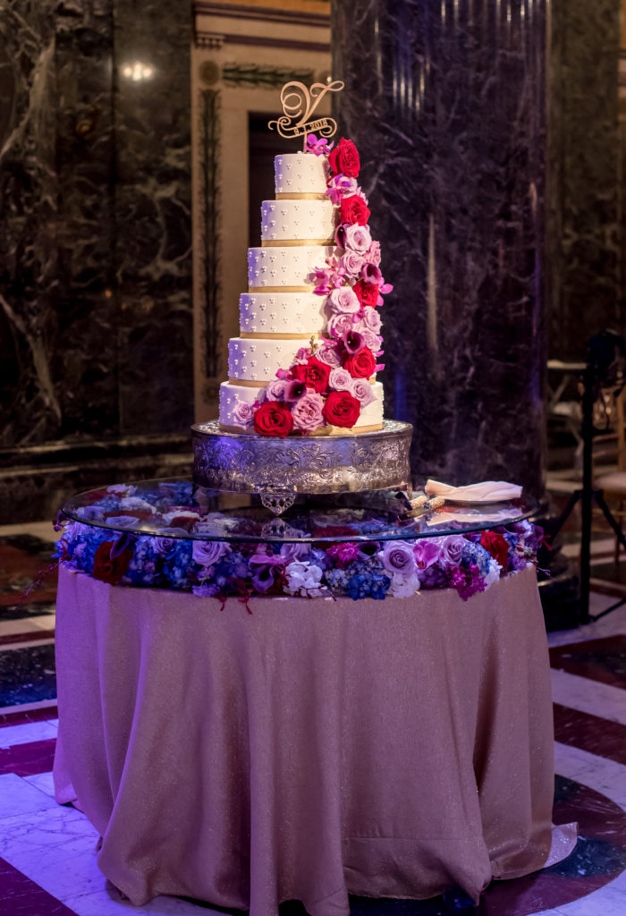 lush floral cake statement display wedding reception
