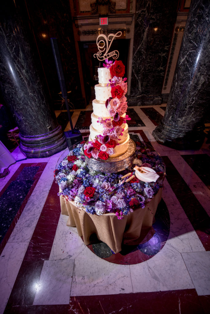 floral table cake with flowers Carnegie Music Hall wedding reception