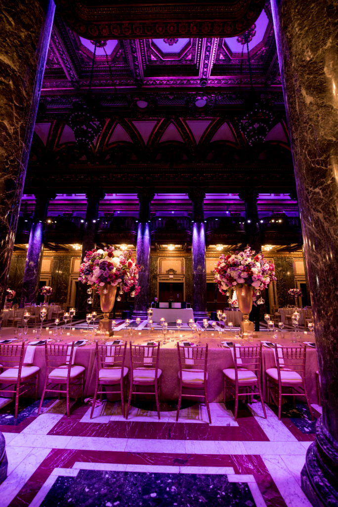 Head Table statement centerpieces candles Carnegie Music Hall wedding reception