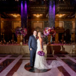 Carnegie Music Hall wedding reception jewel tones head table bride groom