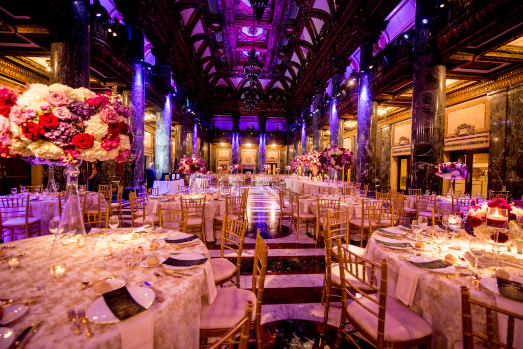 Carnegie Music Hall wedding reception jewel tone lighting flowers