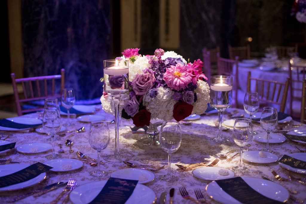 low centerpiece floating candles Carnegie Music Hall wedding reception