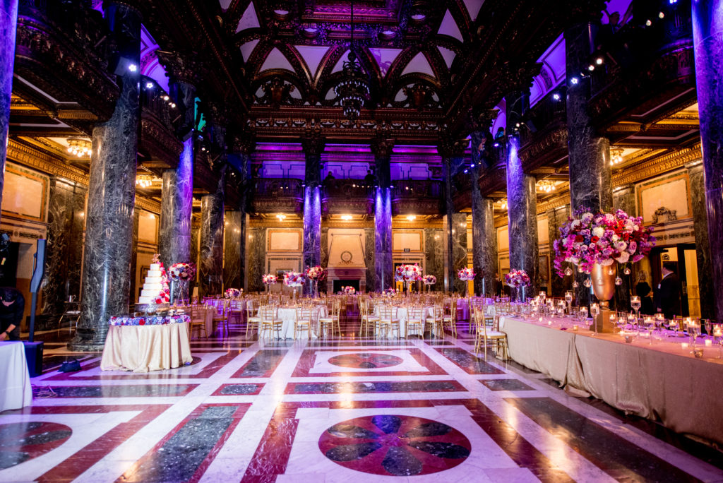 jewel tone wedding reception Carnegie Music Hall