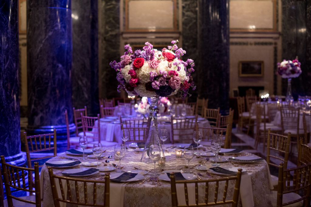 tall centerpiece white jewel tone guest table Carnegie Music Hall wedding