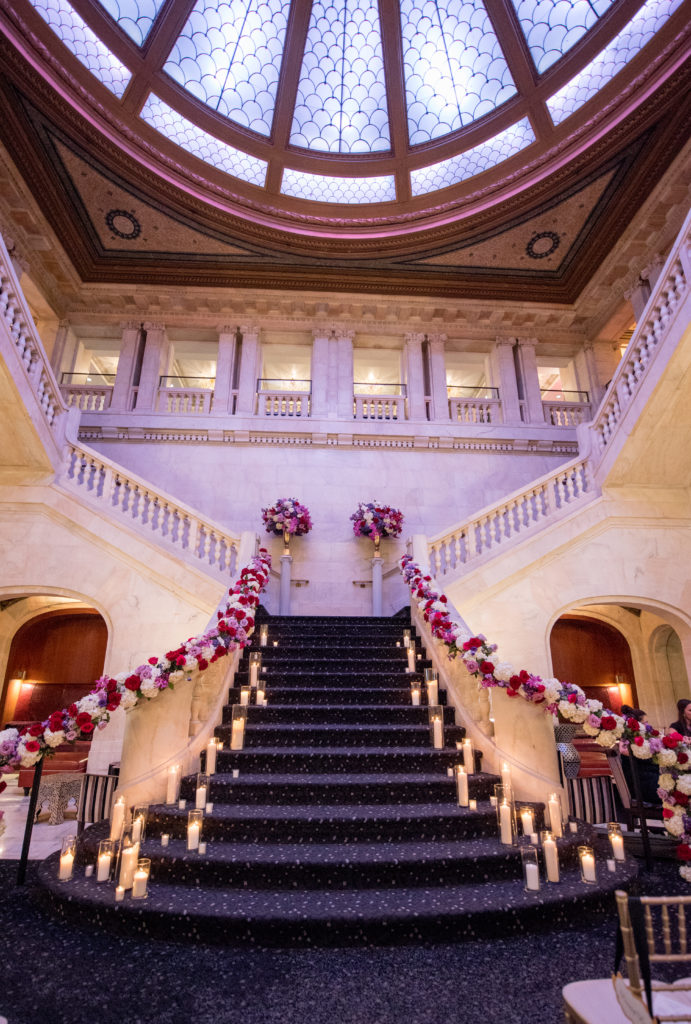 Renaissance Hotel Pittsburgh grand staircase floral garland railings wedding ceremony