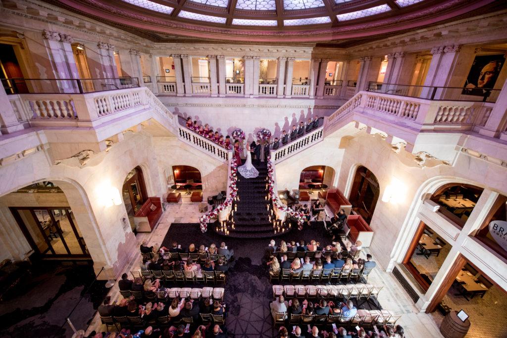 Renaissance Hotel Pittsburgh grand staircase wedding ceremony