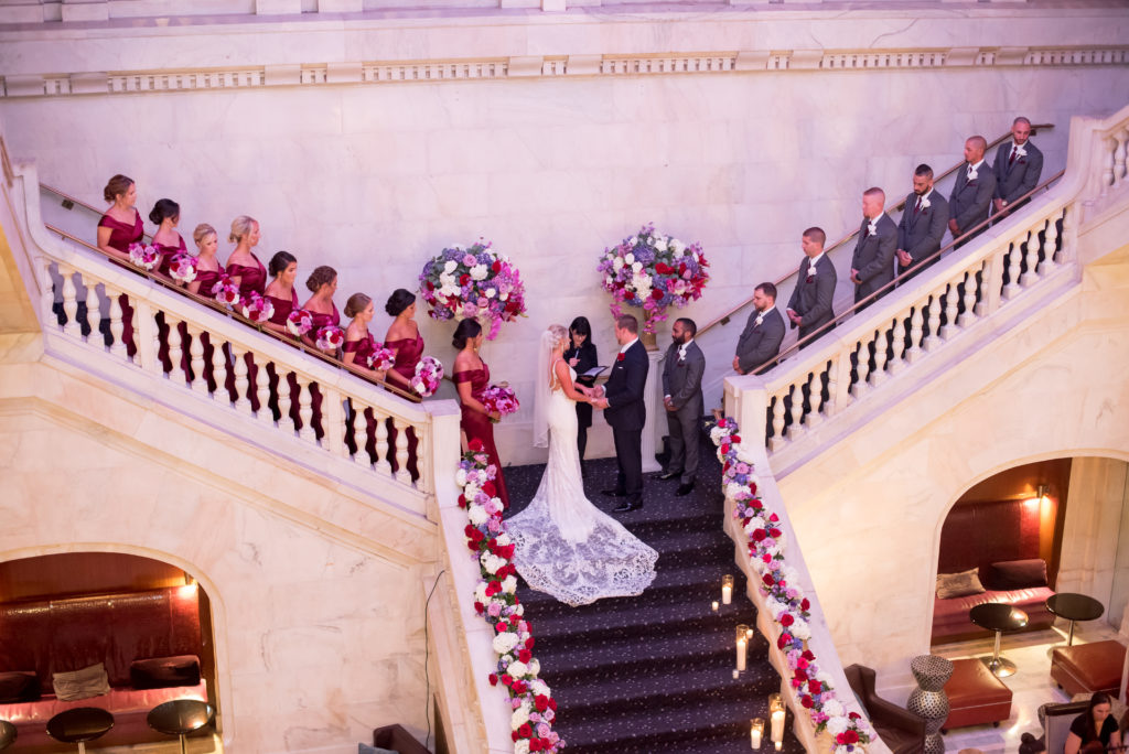 Renaissance Hotel Pittsburgh bride groom wedding ceremony staircase